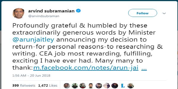 Tweet by Arvind Subramanian