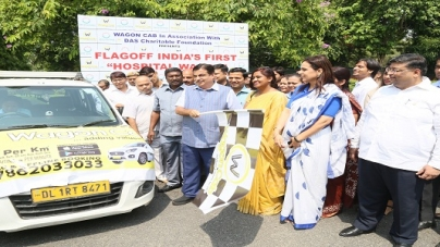 "Nitin Gadkari flagged off India's first ""Hospital Wagon"""
