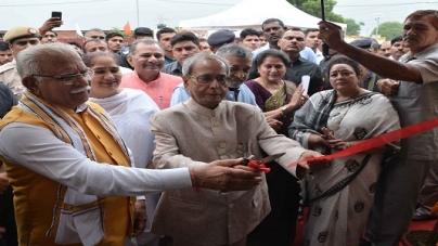 Pranab Mukherjee and Manohar Lal Khattar Inaugurates NBCC Built Gramalaya